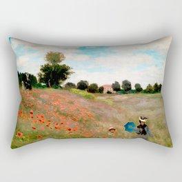 Claude Monet - Wild Poppies, near Argenteuil Rectangular Pillow