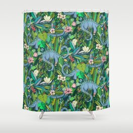 Improbable Botanical with Dinosaurs - dark green Shower Curtain