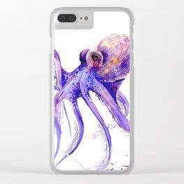 Octopus, purple pink decor Clear iPhone Case