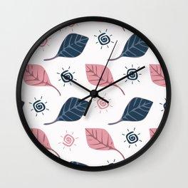 Photosynthesis leave sun nature wall art print seamless pattern Wall Clock