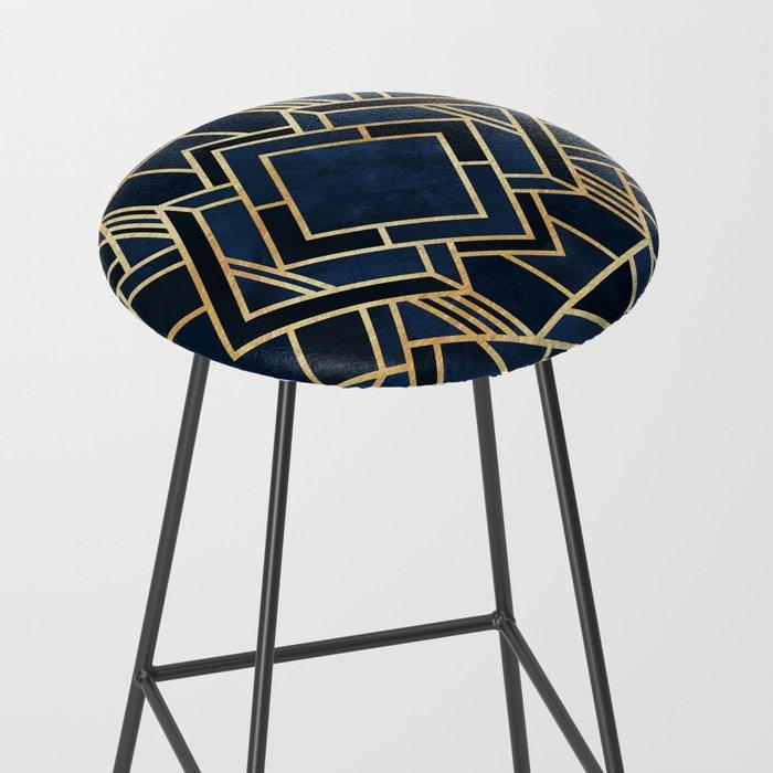 Art Deco Fancy Blue Bar Stool