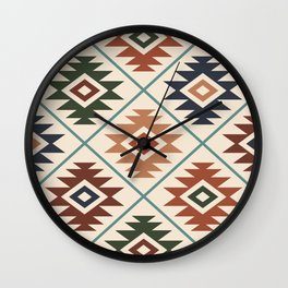 Aztec Symbol Pattern Col Mix Wall Clock
