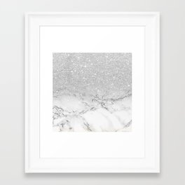 Modern faux grey silver glitter ombre white marble Framed Art Print