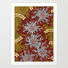 Authentic Aboriginal Art - Bushland Dreaming Art Print