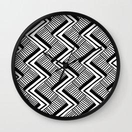 Zig-Zag Black & White Wall Clock