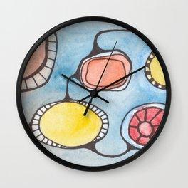 Watercolor Orbs N Lines 1 Wall Clock