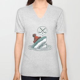 Hockey Shark Unisex V-Neck