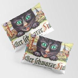 Vintage Zeller Schwarze Katz Black Cat Wine Bottle Label Print Pillow Sham