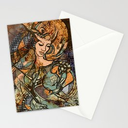 Warrior woman - inspired by Art Nouveau style Stationery Cards