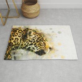 Jaguar Watercolor Splash Rug