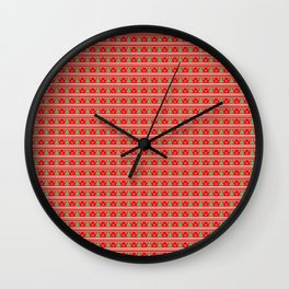 Pixeled Christmas Tree On Red Christmas Pattern Wall Clock