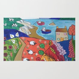 Colorful Naive Seascape Rug