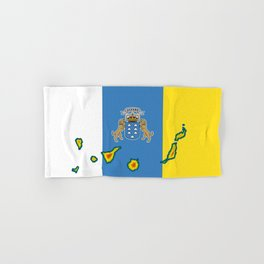 Canary Islands Flag with Map of the Canary Islands Islas Canarias Hand & Bath Towel