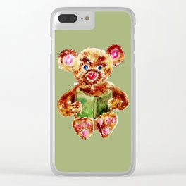 Painted Teddy Bear Clear iPhone Case