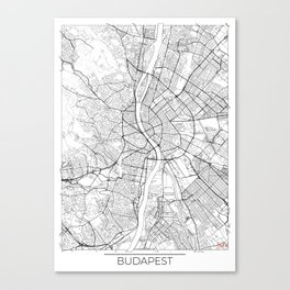 Budapest Map White Canvas Print