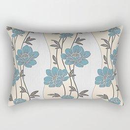 Greenish Blue Flower Garland Rectangular Pillow