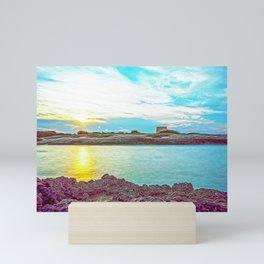 Beach at sunset in Ostuni Salento Italy Mini Art Print