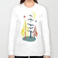 skiing Long Sleeve T-shirts featuring Retro Skiing  by beach please