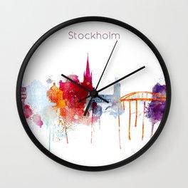 Stockholm Watercolor, Scandinavian capital, Sweden decor Wall Clock