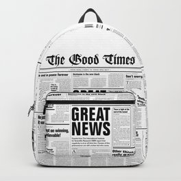 The Good Times Vol. 1, No. 1 / Newspaper with only good news Backpack