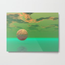 Pleasure, Abstract Green and Gold Completion Metal Print