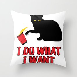 I Do What I want Cat graphic Throw Pillow