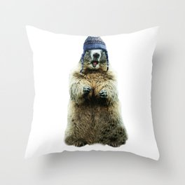 Wooly Marmot by Crow Creek Coolture Throw Pillow