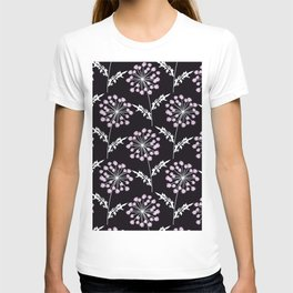 Fishnet pink flowers on a black background. T-shirt
