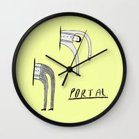 portal Wall Clocks featuring Portal by Nick Alston