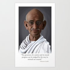 Celebrity Sunday ~ Mahatma Gandhi (Animal Quote) Art Print