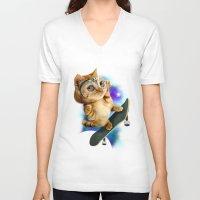 skateboard V-neck T-shirts featuring SKATEBOARD CAT by ADAMLAWLESS