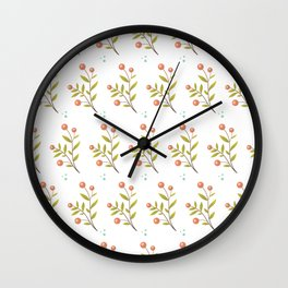 red berries and green leaves Wall Clock