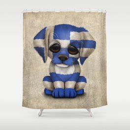 Cute Puppy Dog with flag of Greece Shower Curtain