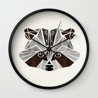 raccoon Wall Clocks featuring raccoon! by Manoou