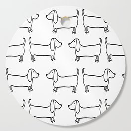 Dachshund in black-white Cutting Board