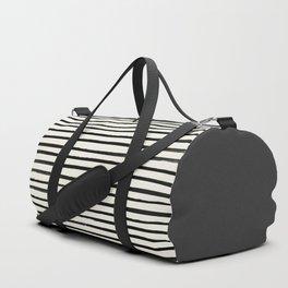 Charcoal Gray x Stripes Duffle Bag