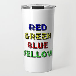 Red Green Blue Yellow Brain Teaser Travel Mug