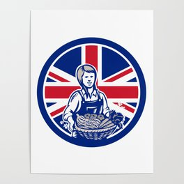 British Female Organic Farmer Union Jack Flag Icon Poster