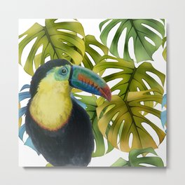Toucan Parrot in a monstera jungle pattern collage Metal Print