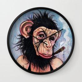 Portrait - Sexy George Burns Monkey Girl  Wall Clock