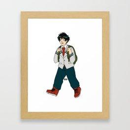Deku walking to school Framed Art Print