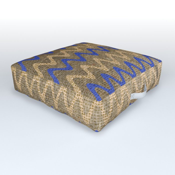 Blue and Tan Zigzag Stripes on Grungy Brown Burlap Graphic Design Outdoor Floor Cushion