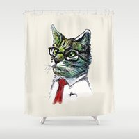 office Shower Curtains featuring Office Cat by e  r  i  c  g  u  e  r  r  e  r  o