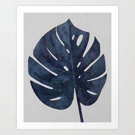 Monstera Leaf Navy Indigo Blue Botanical Tropical Watercolor Painting Art Print Wall Decor  Art Print