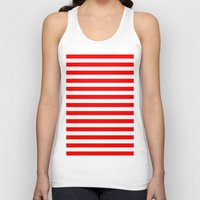 stripes Tank Tops featuring Horizontal Stripes (Red/White) by 10813 Apparel