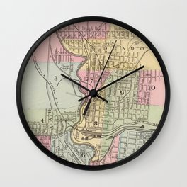 Vintage Map of Scranton PA (1890) Wall Clock