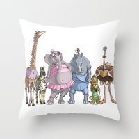 animal crew Throw Pillows featuring Animal Mural Crew by Michael Jared DiMotta Illustrations