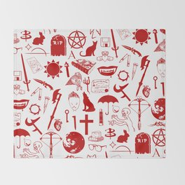 Buffy Symbology, Red Throw Blanket