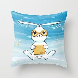 Postal Bunny Throw Pillow