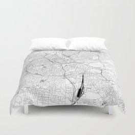 Nashville White Map Duvet Cover